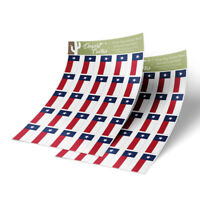 "Texas Flag Sticker Decal 1"" Rectangle Two Sheets 50 Total Stickers"