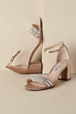 Nina Roz Rhinestones Sparkle Satin Heel Sandals Taupe Size US 7.5 EU 37.5