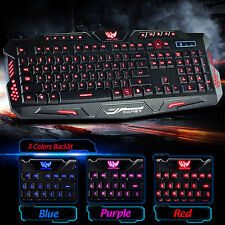 3 Color LED Back Light Keyboard Wired USB Illuminated Cool Ergonomic Gaming PC