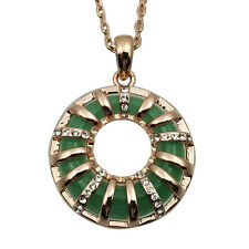 Fashion Jewelry - 18K Rose Gold Plated Jade Necklace (FN028)