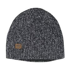 Coal The Yukon Cable Knit Wool Beanie with Fleece Band Black Marl Grey New