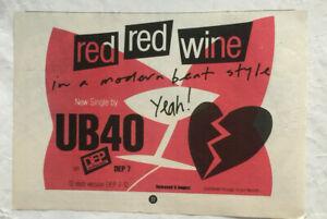 UB40 - RED RED WINE - ORIGINAL MUSIC PRESS ADVERT 1983 - 14.5cm x 21cm