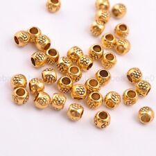 50/100Pcs Antique Tibetan Silver Round Charm Spacer Beads for Bracelet 3035