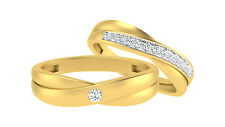 Couple Band 0.19 Ct Real Diamond Fine 14K Yellow Gold Diamond Wedding Band Sets