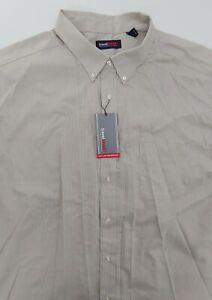 Roundtree & Yorke Travel SMART Long Sleeve Button Up Shirt Khaki 4XT - NWT