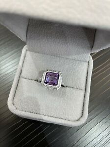 14k White Gold Halo Pave Diamond Asscher Amethyst Cocktail Ring