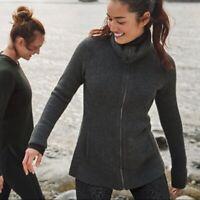 Athleta Grey Zipped Turtle Neck Soft Warm Cardigan Sweater Fall Winter XL