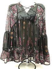 NWOT Knox Rose Womens Boho Top Long Sleeve Black Pink Sheer Lace Back Sz XS 135