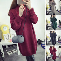 Women Knitwear New Sleeve Warm Cotton Jumper Pullover Sweater Winter Long Loose