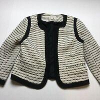 Loft Sz 6 Black Ivory Geometric Open Front Blazer Jacket A2023