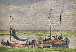 Karl Freede 1908-2000 Leer Segelboote am Steg Leda Jümme Ostfriesland Aquarell