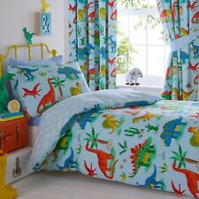DINOSAURS PARK JURASSIC DINO KIDS BOYS SINGLE DUVET QUILT COVER BEDDING SET BLUE