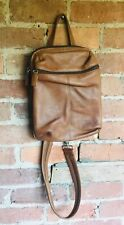 "Tignanello Beige / Tan Leather Backpack Style Organizer Purse 8"" x 10"" x 4"""