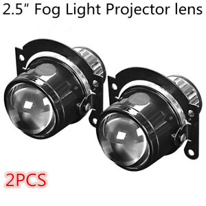 "2PC 2.5"" Fog Light Bi-Xenon Projector Lens Hi/Lo Beam H11 H8 H9 HID LED Retrofit"