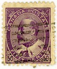 Canada 1908 Stamp Scott #95, 50c purple, Used, HR Catalog Value = $175