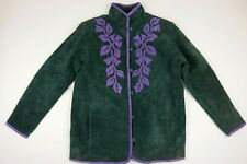 Vintage Rare Linea By Louis Dell'Olio Womens Leather Suede Jacket Green Purple S
