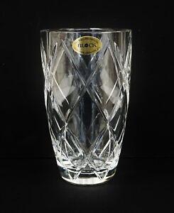 "Vintage Block 7"" Clear Lead Crystal Vase Czech Republic B9890"