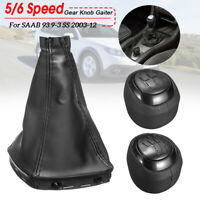 PU Leather 5 6 Speed Gear Shift Knob Gaiter Boot Dust  Cover For SAAB 93 9-3 SS