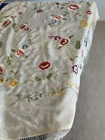 vintage Saka 5th Ave Silk embroidered tablecloth/throw With Long Tassels SPAIN