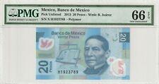 Mexico 2013 20 Pesos PMG Certified Banknote UNC 66 EPQ Gem Polymer