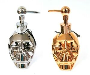 NEW BATH BLIS CERAMIC METALIC SILVER,ROSE GOLD COPPER SKULL SOAP DISPENSER