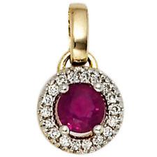 Anhänger 585 Gold Gelbgold Teilrhodiniert 18 Diamant brillanten 1 Rubin