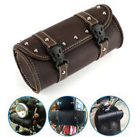 Front Motorcycle Fork Tool Bag Pouch Luggage Sac de selle PU Leather Pour FR