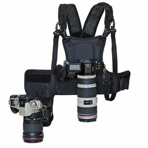 Carrier Multi Dual 2 Camera Carrying Chest Harness Vest Strap DSLR Nicon Canon