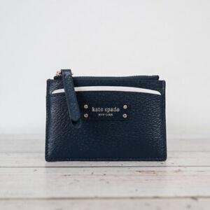NWT Kate Spade Jeanne Small Zip Card Holder Wallet in Petrol Blue