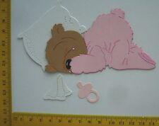 Stanzteile  Kartenschmuck   Sticker  Teddy  schlafend rosa
