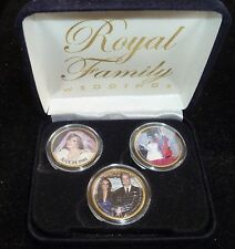 BRITISH Royal Wedding DIANA WILLIAM KATE GOLD Plated HALF PENNY 3 COIN SET Box