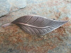 Leaf Antiqued Silver Plated French Clip Hair Barrette Clip made in USA 6034S
