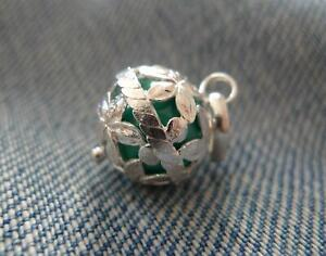 Sterling Silver Harmony Ball Angel Caller Mexican Bola Pendant Green