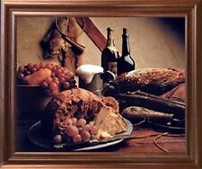 Wine & Fruit Pheasant Still Life Kitchen Wall Art Decor Mahogany Framed Picture