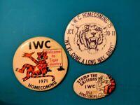 LOT  of 3 Original Vintage 1971 1972 1975 Tiger Pinbacks Iowa Wesleyan College