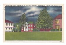 NC Mars Hill North Carolina antique linen post card Mars Hill College Night View