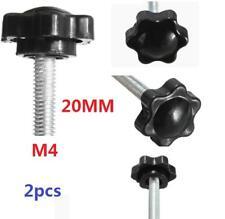 2 pcs M4 M4x20mm Black Metal Star Shaped Male Thread Clamping Head Knob Screw