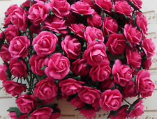 100 Cute Handmade Mulberry Paper Roses - 10MM - Gorgeous Fuchsia Pink Rose!