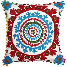 Decorative Cotton Cushion Cover Indian Hand Embroidered Pillow Case Cover Throw