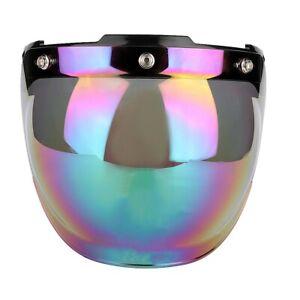 UInisex Motorcycle Retro 3-snap Sun Visor Shield Windproof Helmet Lens Colored