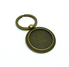 pack of 4 Antique Bronze Key Ring with Cabochon setting Cabochon blanks