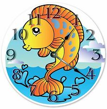 "10.5"" CUTE ORANGE FISH NURSERY KIDS CLOCK Large 10.5"" Wall Clock - 3326"
