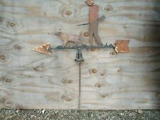 ANTIQUE ORIGINAL FOLK ART WEATHERVANE HUNTER WITH RIFLE & HAT & DOG ON ARROW