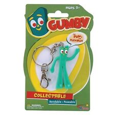 New Gumby Keychain Toy Bendable Keyring Key Chain Ring Gift Flexible Collectible