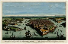 Birds Eye View of the Town and Fortifications of Malta in 1700s Map Poster NEW