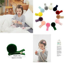 12 pieces Multi-colored Kids Girls Pom Poms Decor Hair Pins Clips Non-Scratch