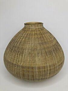 Rotund Heavy Large Ceramic Vase Vertical Line Modern Farmhouse Matte Tan Neutral