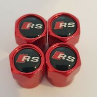 AUDI RS RED Car Valve Alloy wheel dust Caps All models