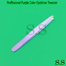 Proffesional Purple Color Eyebrow Tweezer Slanted Hair Beauty Woman BeautyMakeup