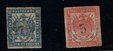 Transvaal: 1870; Scott 28-29, rouletted, good, Used, EBB170